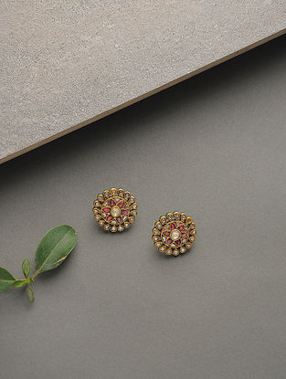 Red-Green Enameled Tourmaline Polki Gold Earrings