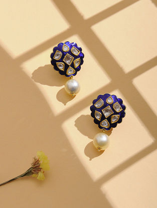 Blue Enameled Polki Gold Earrings with Pearls
