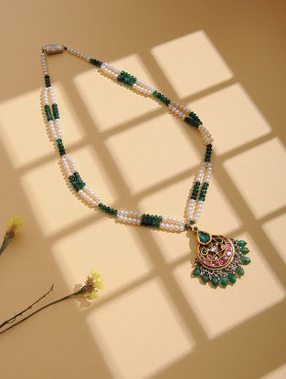 Emerald and Pearl Beaded Gold Necklace