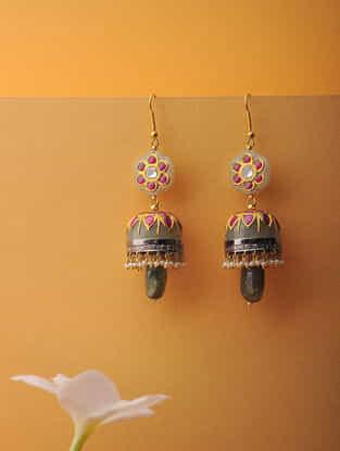 Jade and Polki Diamond Gold Jhumkis With Inlay Work