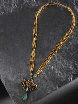 Ruby and Emerald Gold Beaded Necklace