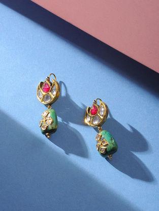 Turquoise Polki Gold Earrings