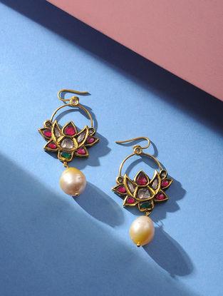 Pearl and Polki Gold Earrings