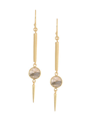 Smoky Topaz and Labradorite Gold Tone Brass Earrings