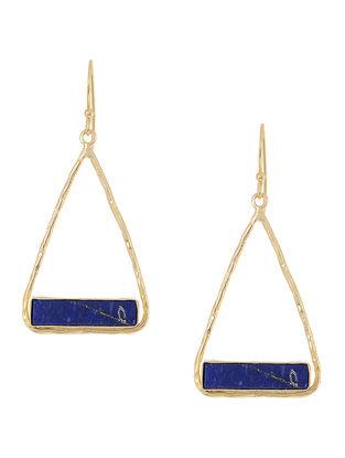 Blue Lapis Lazuli Gold Plated Brass Earrings