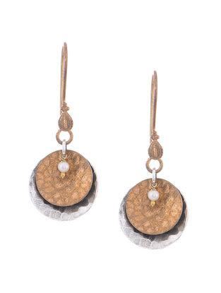 Fresh Water Pearl Dual Tone Silver Earrings