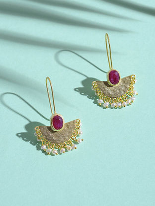 Ruby and Fresh Water Pearl Gold-plated Silver Earrings