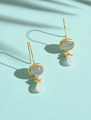 Labradorite and Fresh Water Pearl Gold-plated Silver Earrings