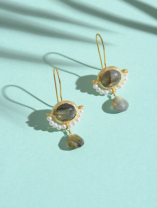 Labradorite and White Rainbow Gold-plated Silver Earrings