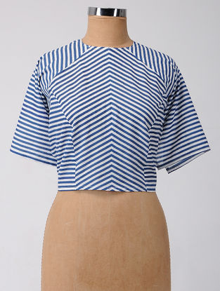 Blue Striped Constructed Cotton Blouse Fabric