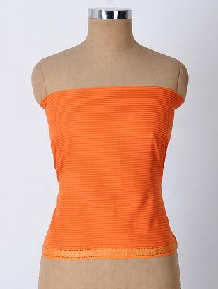 Orange-Red Cotton Blouse Fabric with Zari