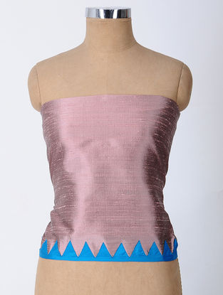Pink-Blue Patch-work Raw Silk Blouse Fabric