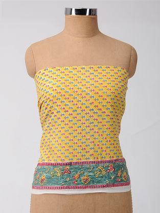 Yellow-Green Block-printed Cotton Blouse Fabric