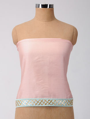 Pink-Turquoise Gota-patti Chanderi Blouse Fabric