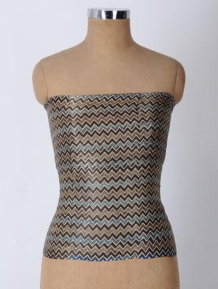 Brown-Blue Block-printed Blouse Fabric