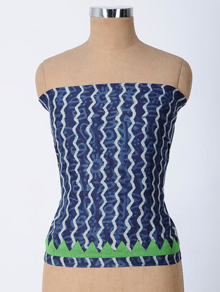 Indigo-Ivory Block-printed and Patch-work Cotton Silk Blouse Fabric