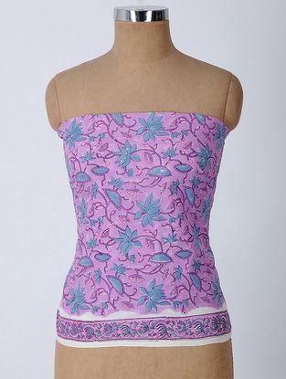 Purple-Blue Block-printed Cotton Blouse Fabric