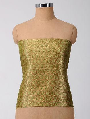 Green Brocade Silk Blouse Fabric with Zari