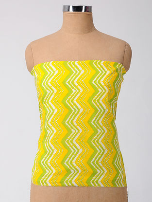 Yellow-Green Printed Cotton Blouse Fabric