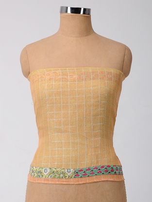 Beige-Green Patch-work Linen Blouse Fabric