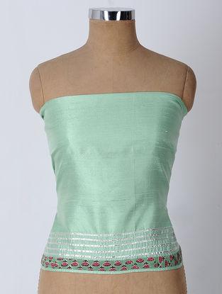 Turquoise-Red Gota-patti Raw Silk Blouse Fabric