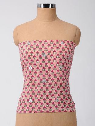 Pink-Green Block-printed Cotton Blouse Fabric with Gota-patti Work