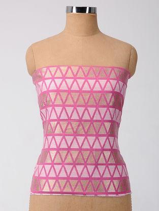 Ivory-Pink Printed Chanderi Blouse Fabric with Zari