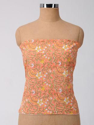 Peach-Green Block-printed Cotton Blouse Fabric