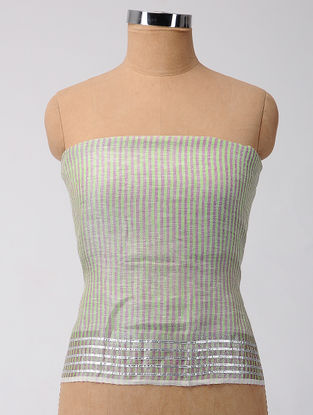Green-Purple Gota-patti Linen Blouse Fabric