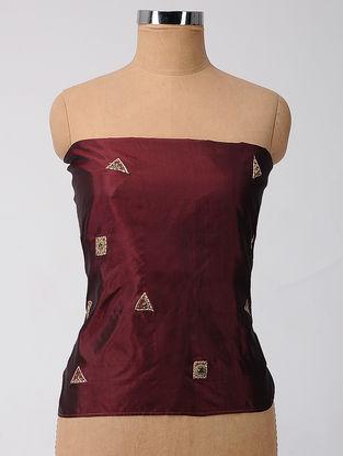 Maroon Patch-work Silk Blouse Fabric with Zardozi-work