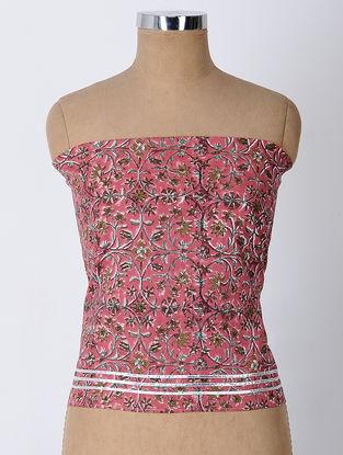 Pink-Green Block-printed Cotton Blouse Fabric