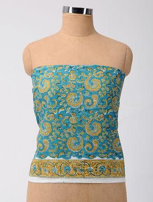 Blue-Beige Block-printed Cotton Blouse Fabric