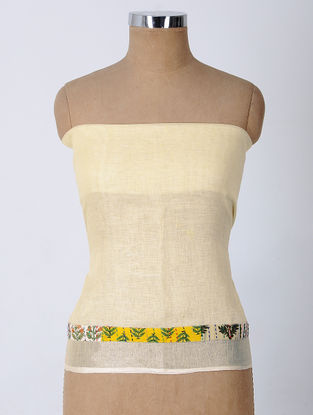 Ivory-Yellow Patch-work Linen Blouse Fabric