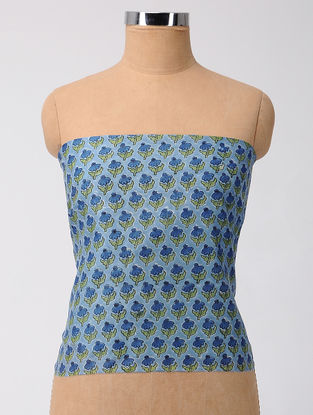 Blue-Green Block-printed Chanderi Blouse Fabric