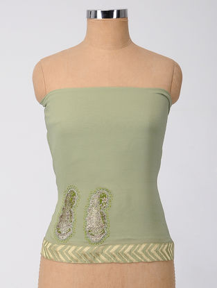Green Patch-work and Embroidered Georgette Silk Blouse Fabric