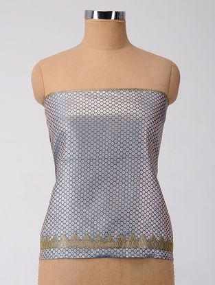 Blue-Green Patch-work Brocade Silk Blouse Fabric