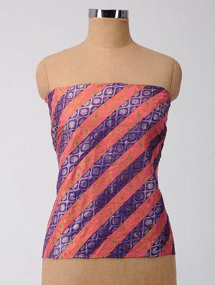 Purple-Pink Brocade Patch-work Silk Blouse Fabric