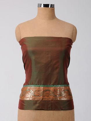 Green-Orange Patch-work Silk Blouse Fabric
