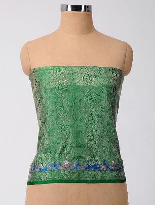 Green-Blue Brocade Patch-work Georgette Blouse Fabric
