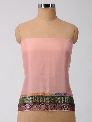 Pink-Green Brocade Patch-work Silk Blouse Fabric