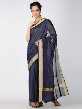 Blue-Pink Embroidered Chanderi Saree with Zari