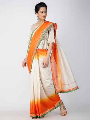 Ivory-Orange Hand-embroidered Chanderi Saree