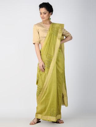 Green Embroidered Chanderi Saree