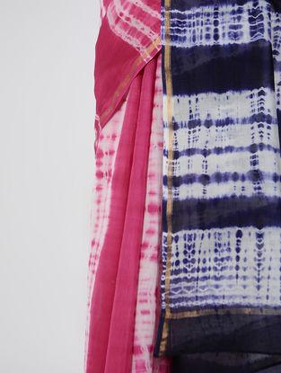 Pink-Ivory Shibori-dyed Chanderi Saree with Zari Border