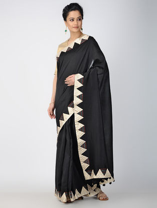 Black-Ivory Patch-work Chanderi Saree with Tassels