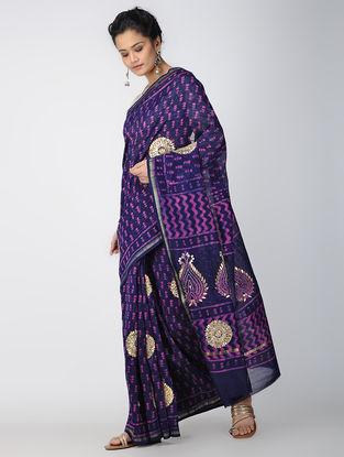 Blue-Ivory Block-printed Chanderi Saree with Gota-patti