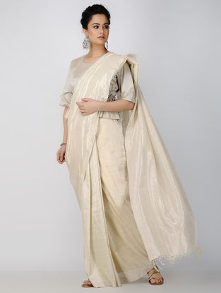Ivory Linen Saree with Zari