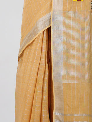 Beige-Yellow Patch-work Linen Saree with Zari and Tassels
