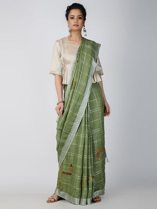 Green-Ivory Patch-work Linen Saree with Zari and Tassels