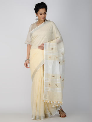 Ivory Patch-work Linen Saree with Tassels
